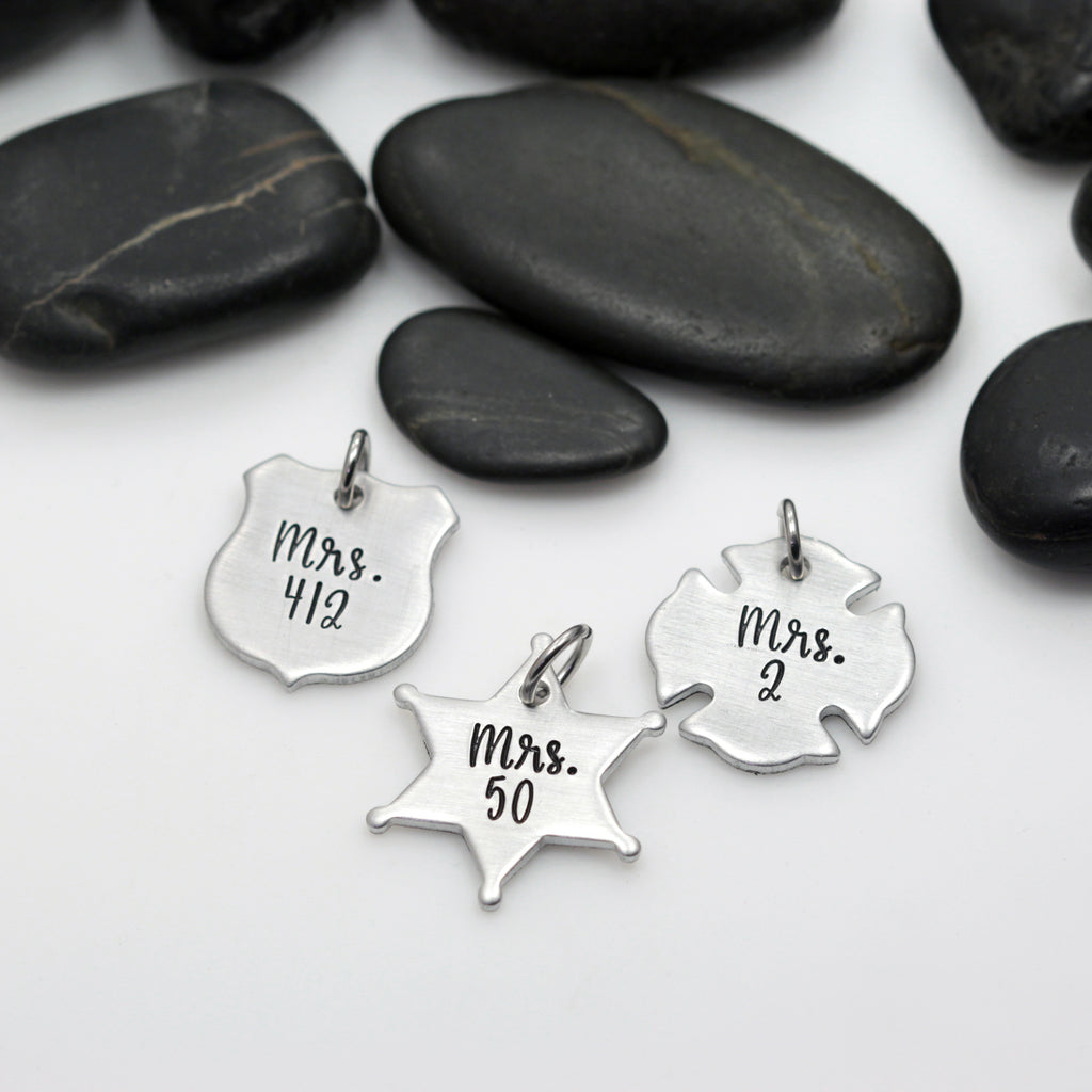Mrs. Number Charm | Maltese Cross | Firefighter | Police Officer Badge | Deputy Sheriff Badge - Hand Stamped