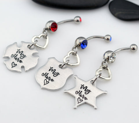 My Hero Belly Ring | Maltese Cross | Firefighter | Police Officer Badge | Deputy Sheriff Badge - Hand Stamped