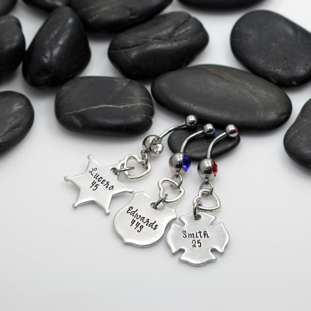 Name & Number Belly Ring | Maltese Cross | Firefighter | Police Officer Badge | Deputy Sheriff Badge - Hand Stamped
