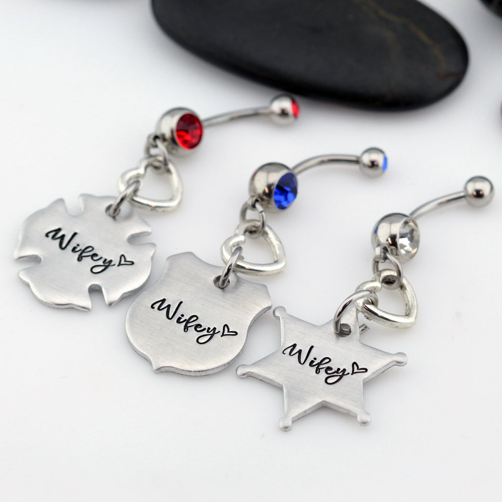Wifey Belly Ring | Maltese Cross | Firefighter | Police Officer Badge | Deputy Sheriff Badge - Hand Stamped