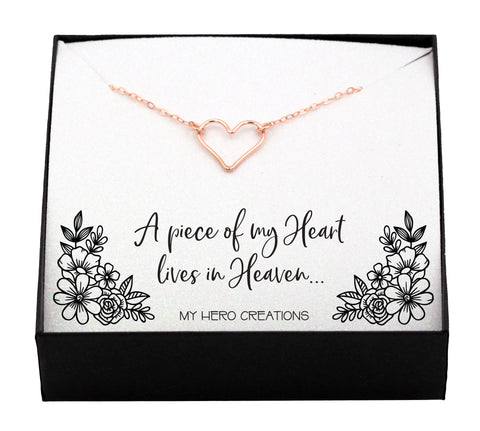 Dainty Memorial Angel Heart Necklace
