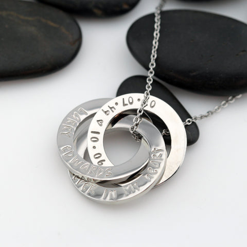 Forever In My Heart | Personalized Memorial Washer Necklace | Interlocking Circles - Hand Stamped