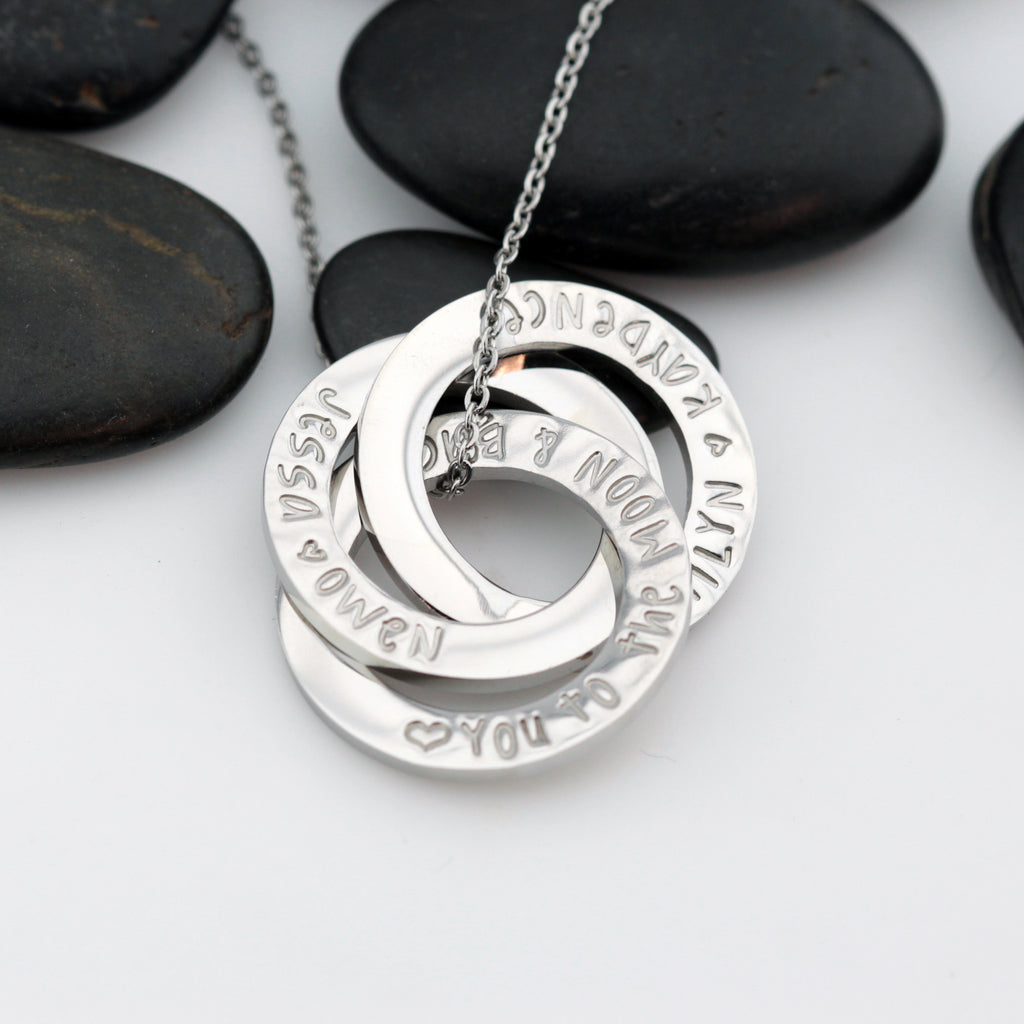 Love You To The Moon & Back | Personalized Mother's Washer Necklace | Interlocking Circles - Hand Stamped