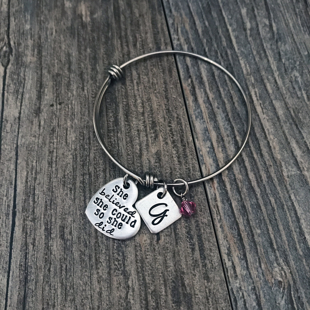 Personalized She Believed She Could So She Did Expandable Bangle - Hand Stamped