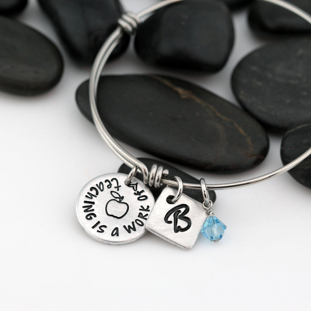 Teaching Is A Work Of Heart | Personalized Expandable Bangle Bracelet