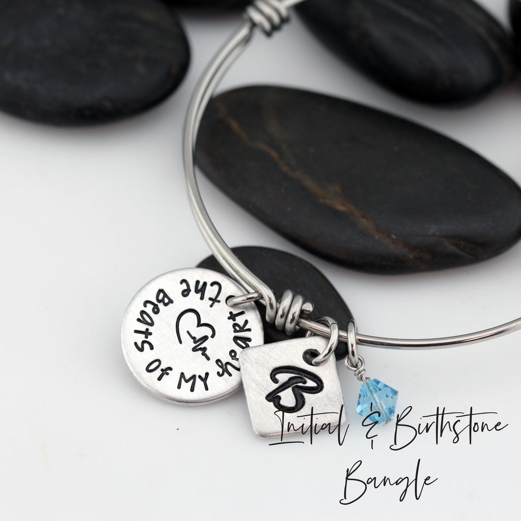 The Beats Of My Heart - Personalized Expandable Bangle Bracelet