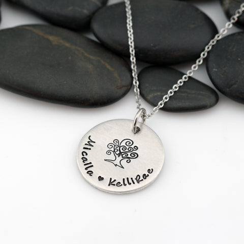 Tree Of Life | Personalized Name | Custom Mother's Necklace - Hand Stamped