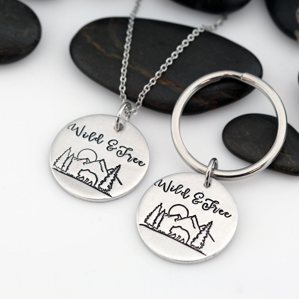 Wild & Free | Adventure and Outdoor Lovers Gift Idea | Mountain Scenery Keychain OR Necklace - Hand Stamped