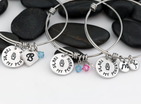 You're My Penguin - Personalized Expandable Bangle Bracelet