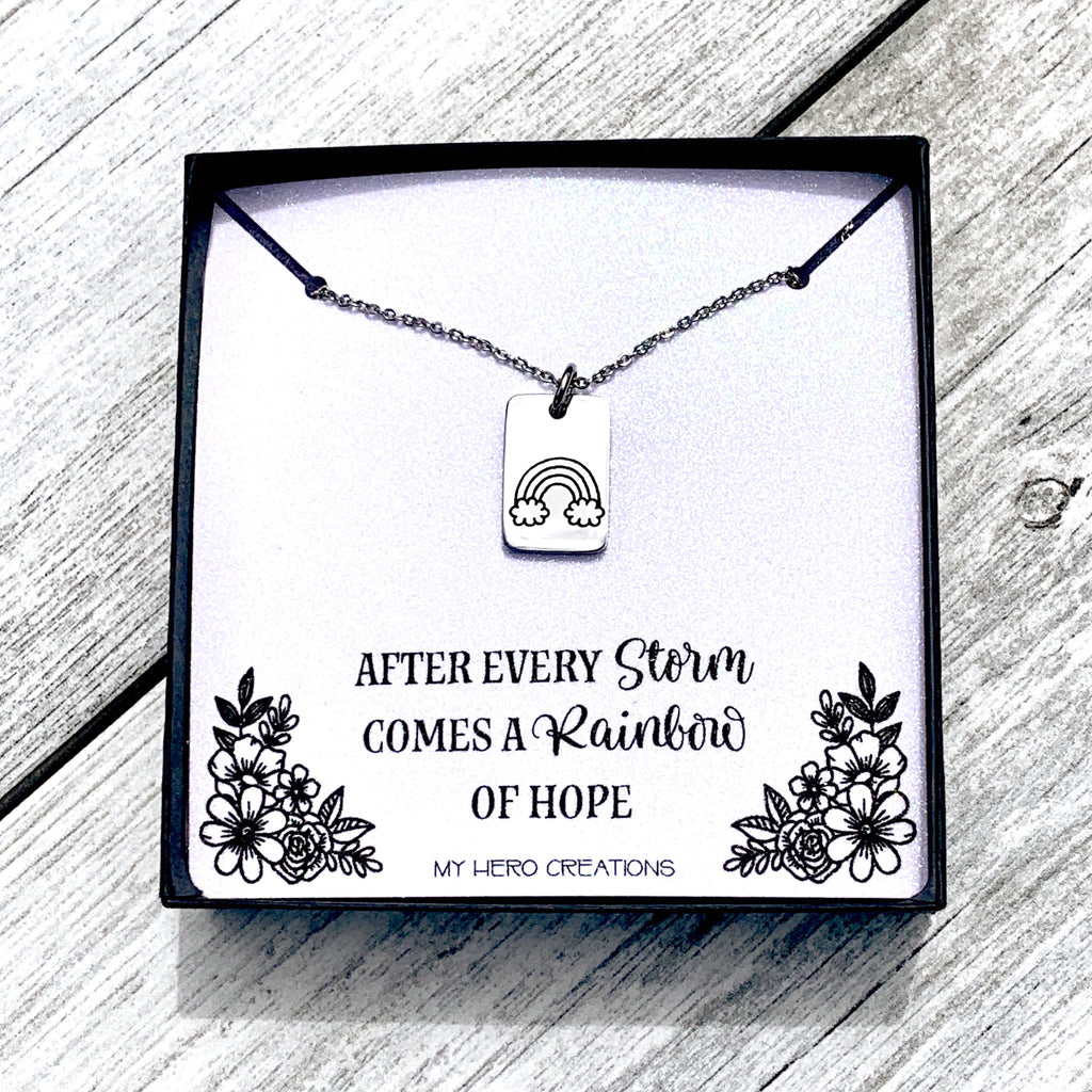 Rainbow Baby Rectangle | Dainty Memorial Necklace - Hand Stamped