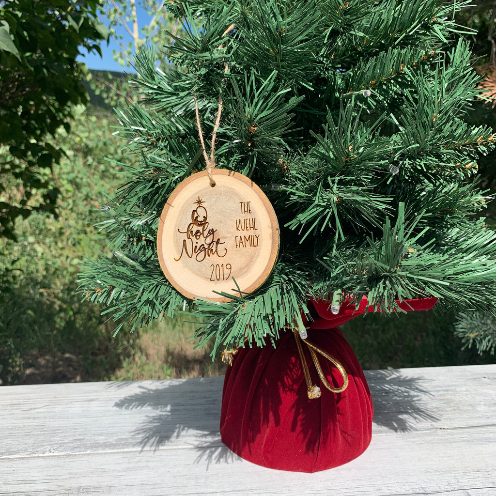 O Holy Night | Personalized Name | Religious Rustic Wood Slice Christmas Ornament - Hand Stamped