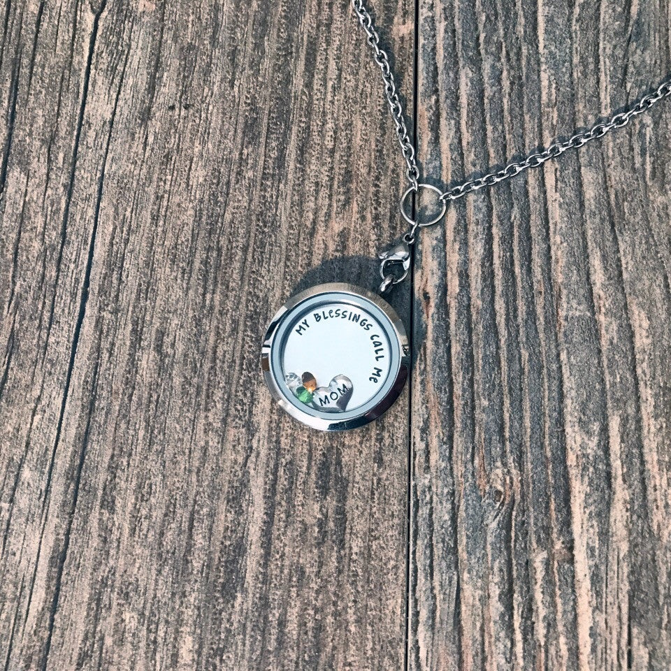 My Greatest Blessings Stainless Steel Floating Locket - Hand Stamped