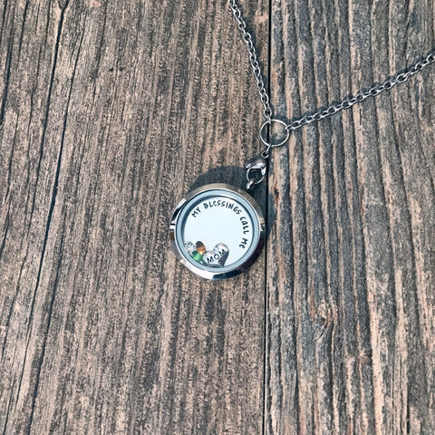 My Greatest Blessings Stainless Steel Floating Locket