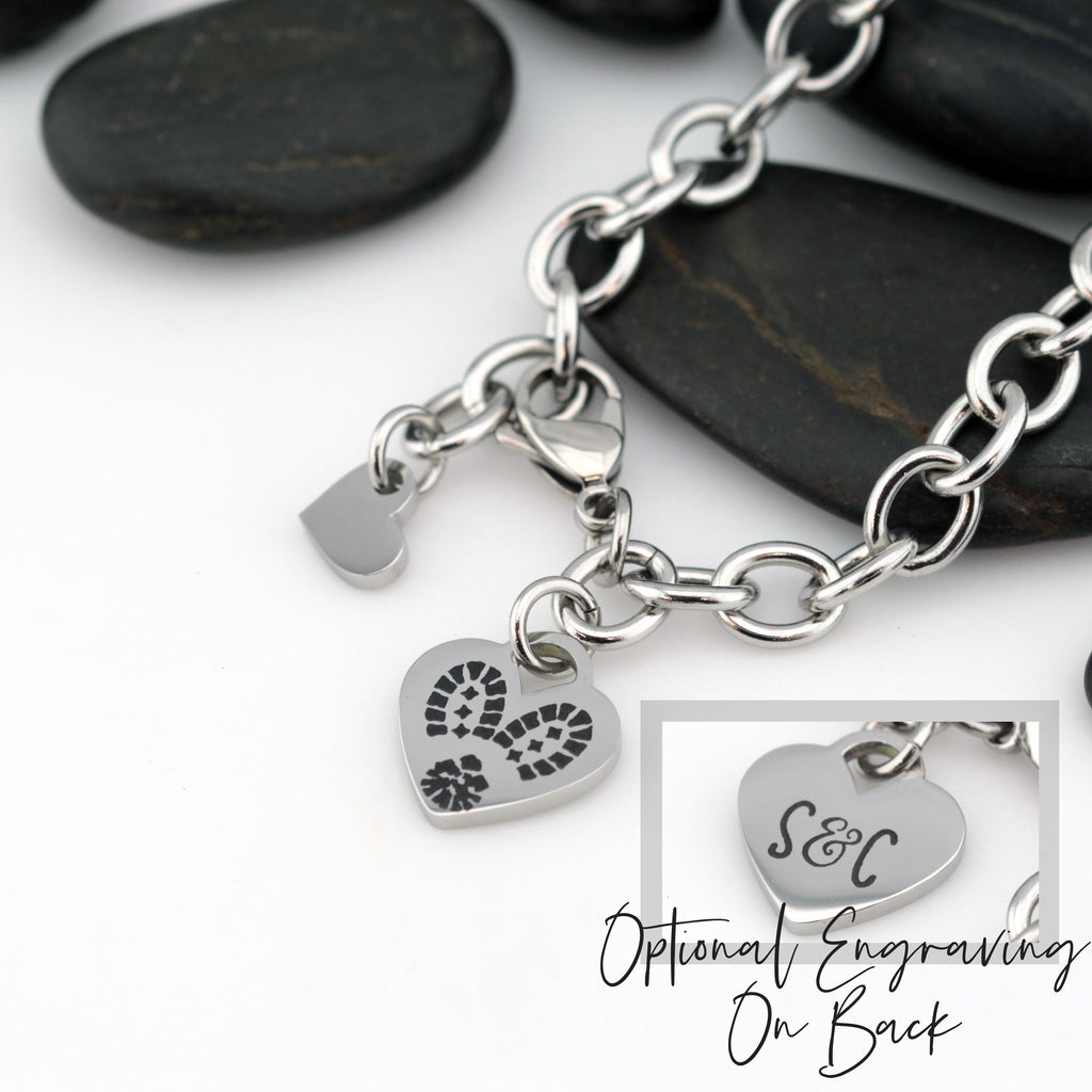 Combat Boot Prints Heart Bracelet