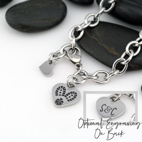 Combat Boot Prints | Military Love | Heart Bracelet