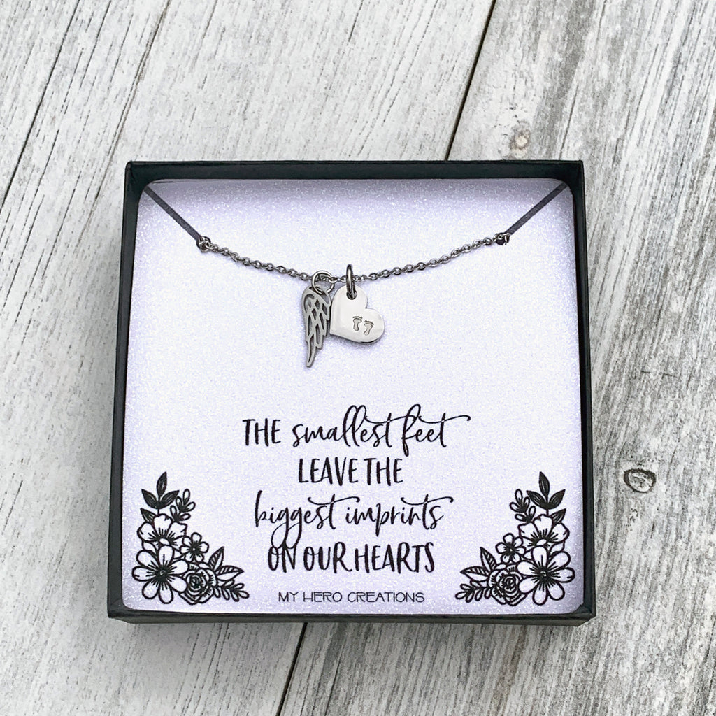 Baby Footprints With Angel Wing | Dainty Memorial Necklace - Hand Stamped