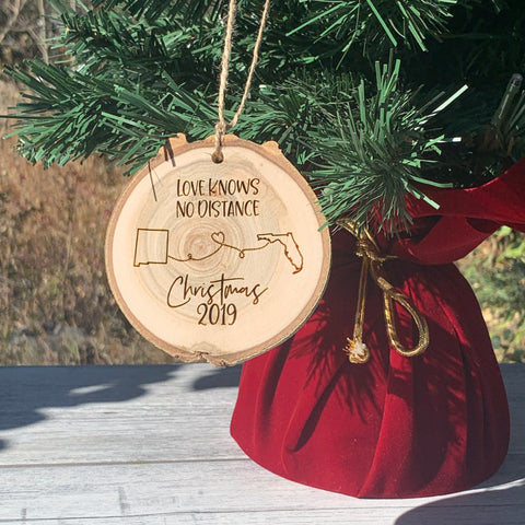 Love Knows No Distance | Rustic Wood Slice Christmas Ornament - Hand Stamped