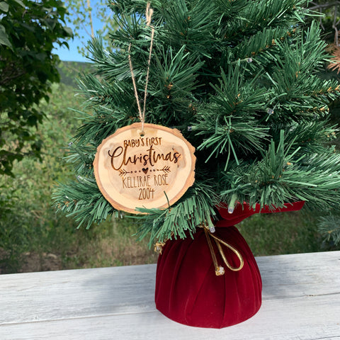Baby's First Christmas | Personalized Name | Rustic Wood Slice Christmas Ornament - Hand Stamped