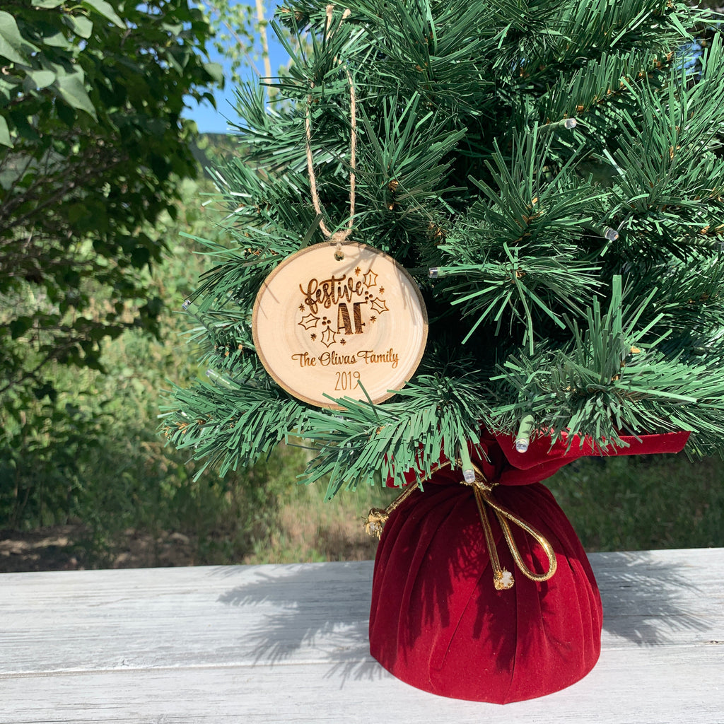 Festive AF | Personalized Family Name | Rustic Wood Slice Christmas Ornament - Hand Stamped