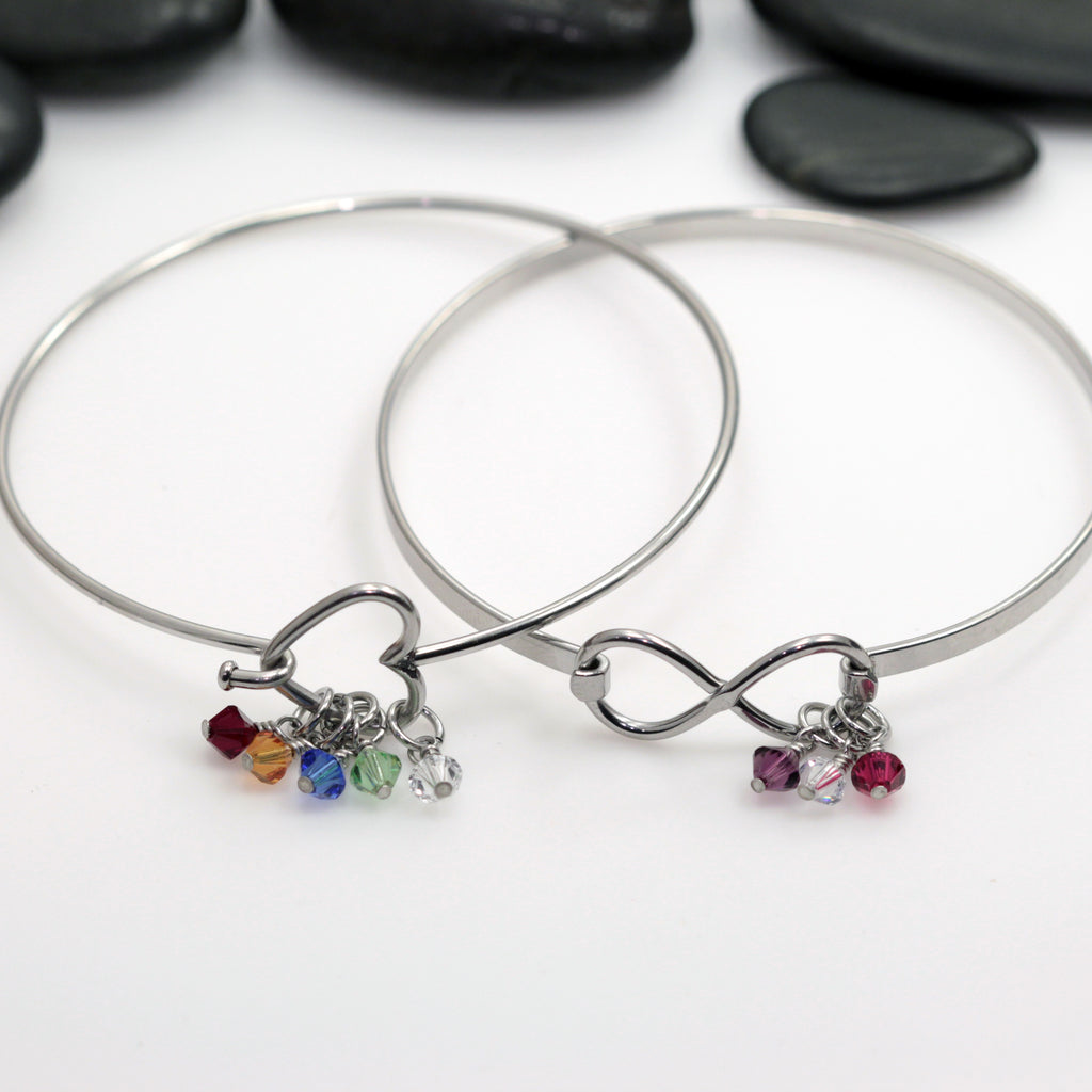 Personalized Heart | Infinity Bangle Bracelet With Birthstones - Hand Stamped