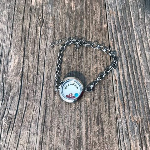 Personalized Stainless Steel Floating Locket Bracelet - Hand Stamped