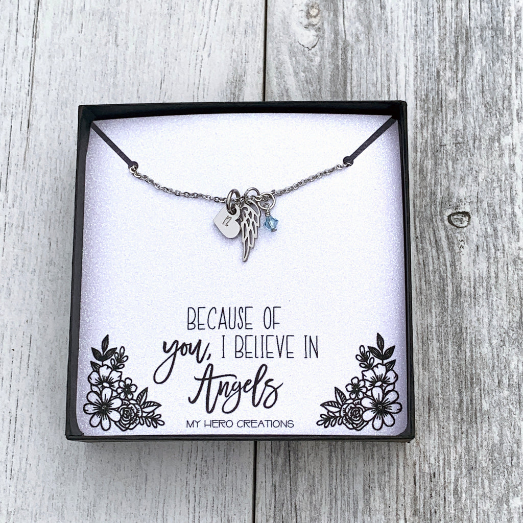 "Angel Wing Dainty Minimalist 0.375"" Initial Memorial Birthstone Necklace - Hand Stamped"
