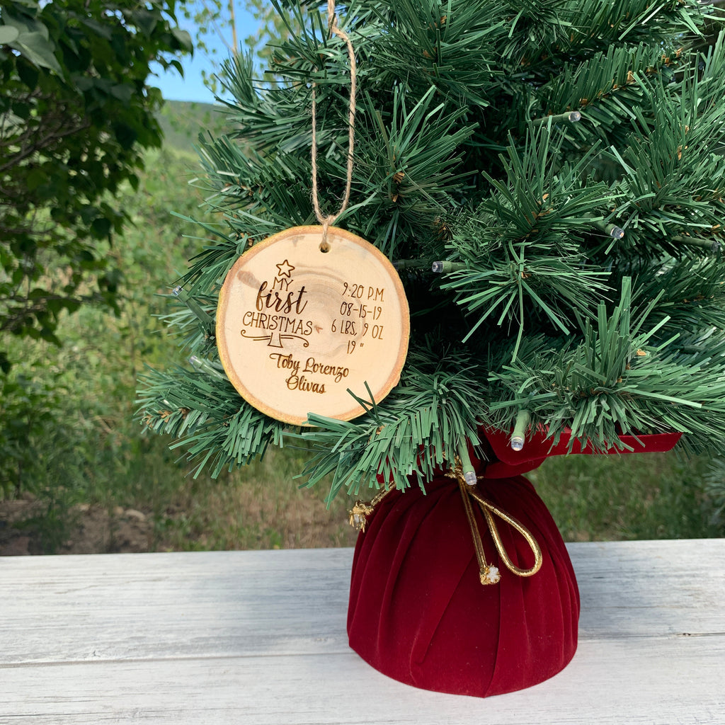 Baby's First Christmas | Personalized Birth Stats | Rustic Wood Slice Christmas Ornament - Hand Stamped