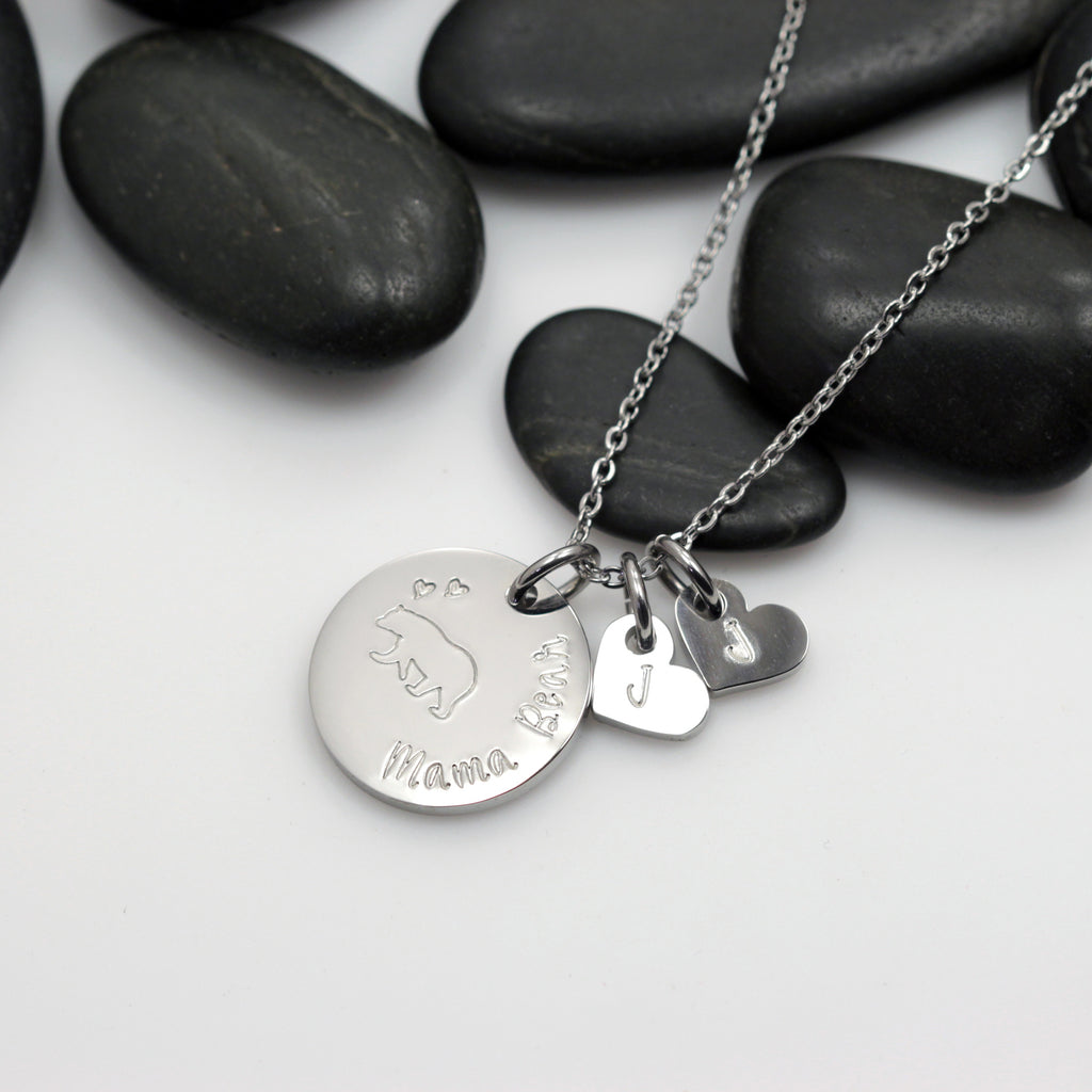 Mama Bear Necklace - Hand Stamped