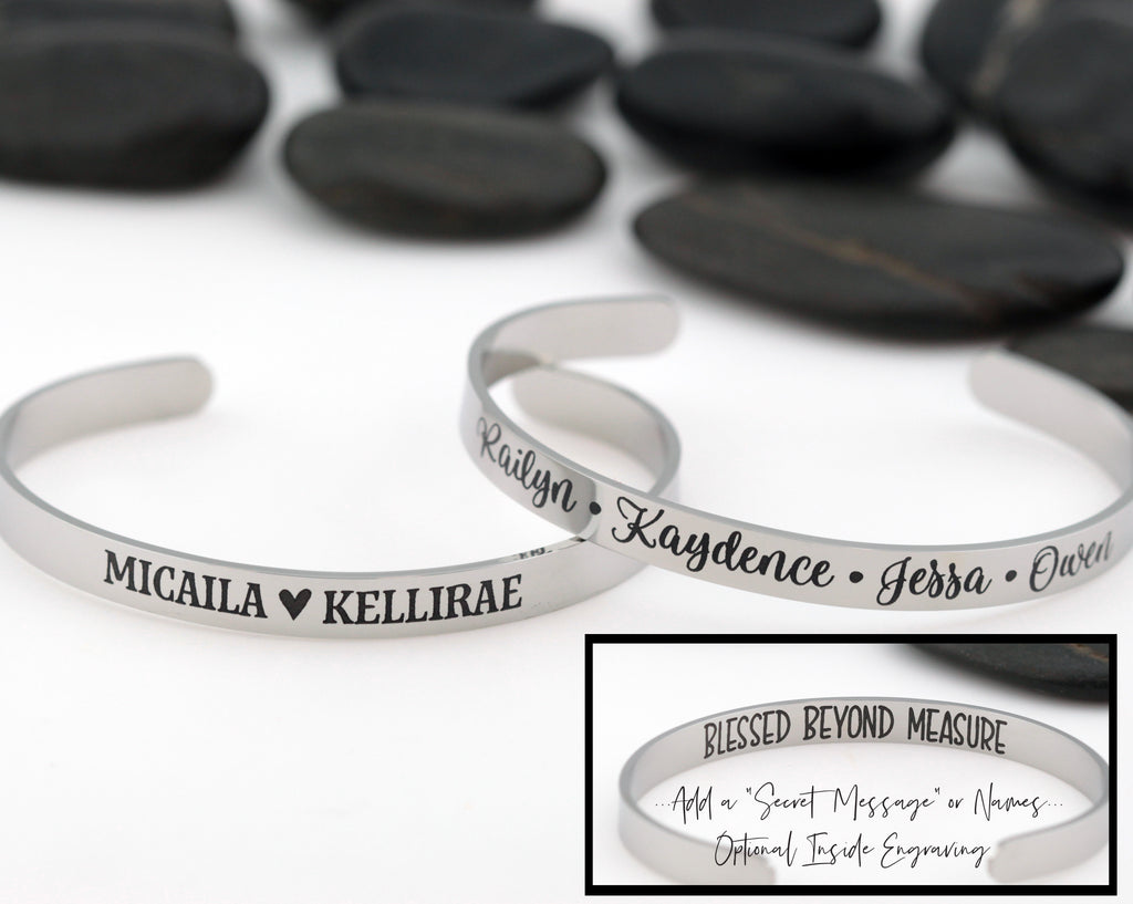 Personalized Name | Word | Phrase | Engraved Cuff Bracelet - Hand Stamped