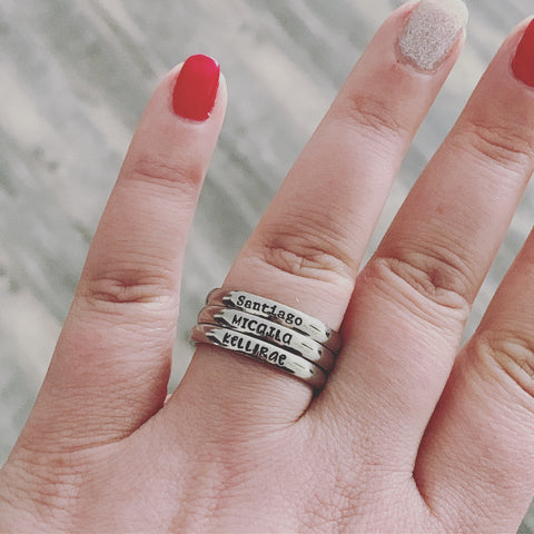 3mm Personalized Stackable Stainless Steel Name Ring(s) - Hand Stamped