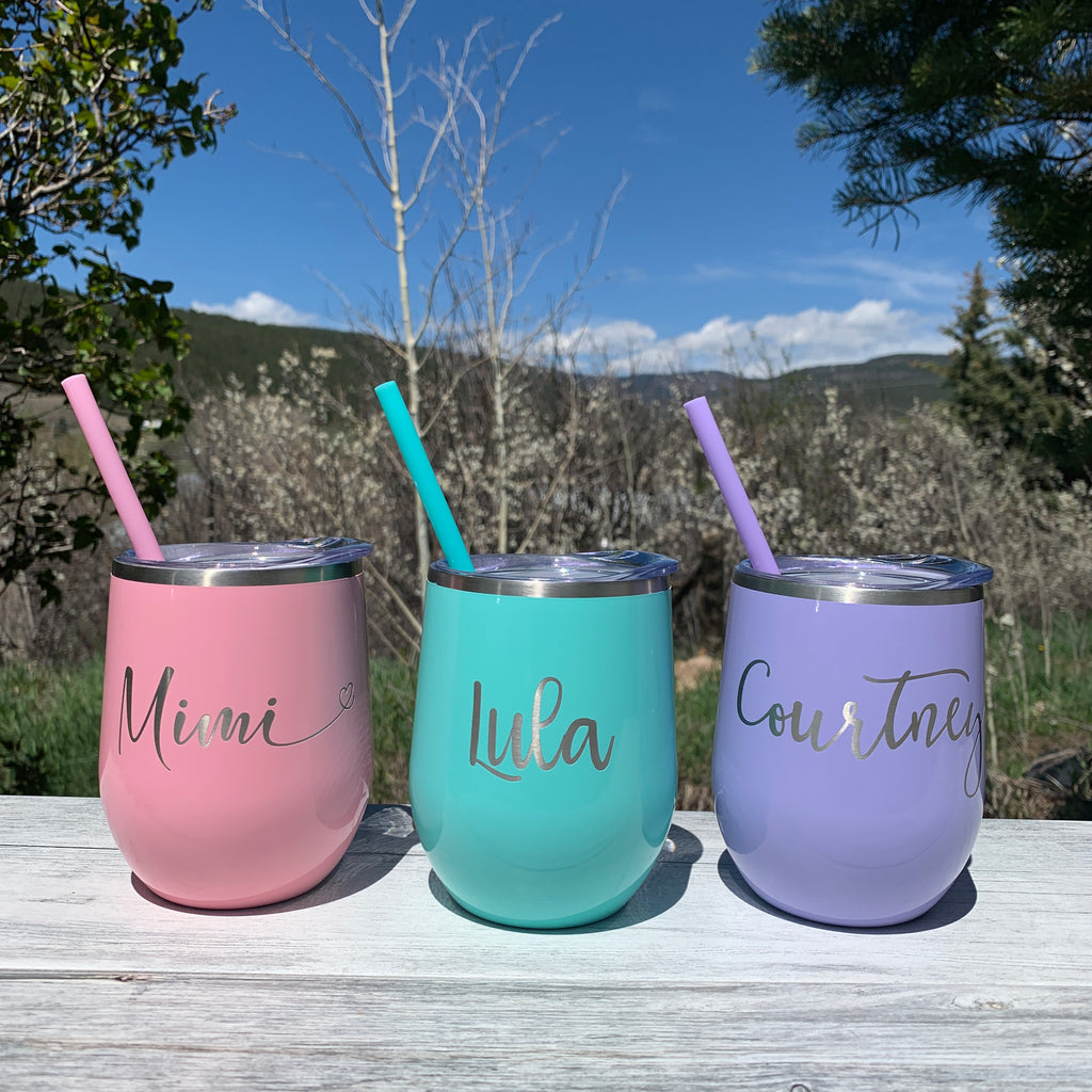 Personalized Name | Engraved 12oz Stainless Steel Wine Glass Tumbler - Hand Stamped