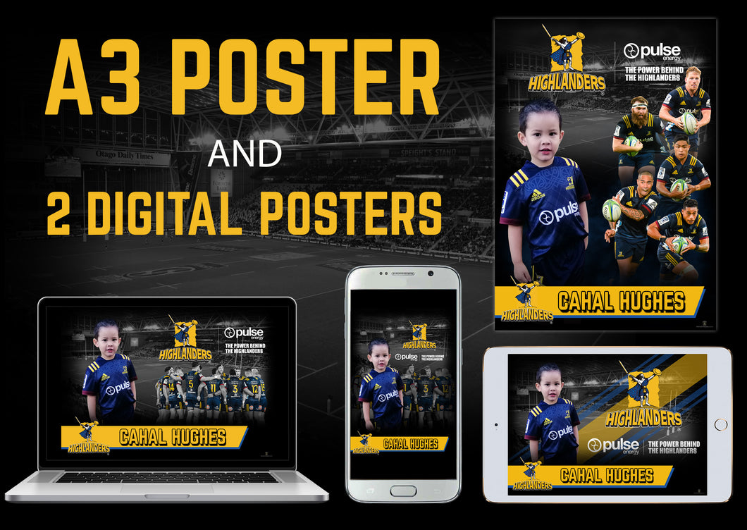 Highlanders Printed A3 Poster and 2 Digital Posters