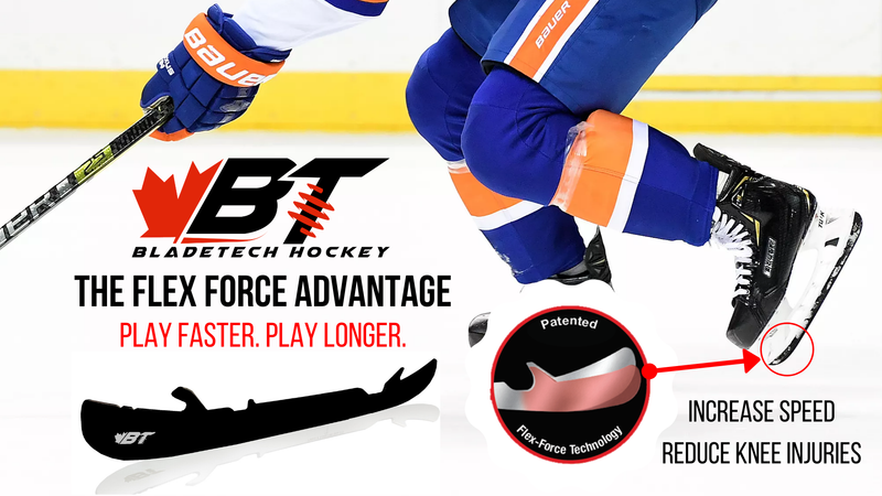 Bladetech Hockey DLC Mirrored Black High Performance Flexible Black Steel Skate Blades - Hockey Ref Shop