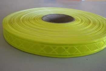 Reflective Tape - Sew On - Fluorescent Lime - 25mm x 50M - Safety Tapes/Reflective Tape - Tapes Online