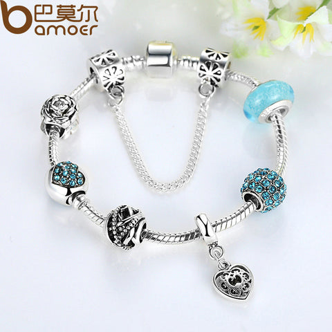 Luxury Silver Glass Bead Charm Bracelet & Bangle for Women