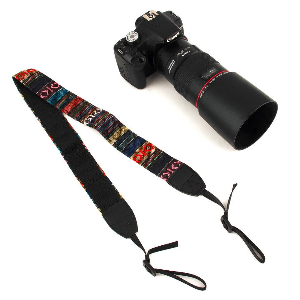 3 in 1 Vintage Cotton Camera Straps for Nikon/Pentax/Sony/Canon DSLR Camera