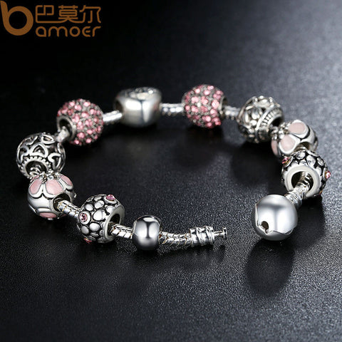 ** FREE SHIPPING **Antique 925 Silver Charm Bangle & Bracelet with Love and Flower Crystal Ball