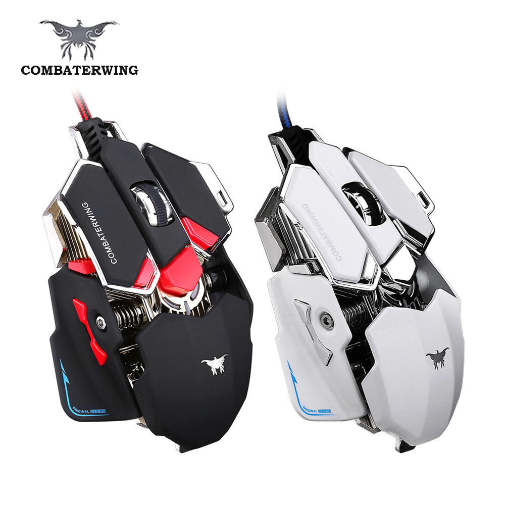 COMBATERWING 4800 DPI Adjustable Optical Mechanical Gaming Mouse Programmable 10 Button USB Wired Mice Competitive Game Mouse