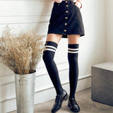 Sexy Women Girls Thigh High Striped Cotton Socks Over Knee Stockings