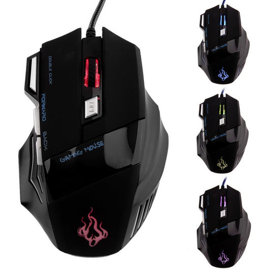 New 3200 DPI 7 Buttons LED USB Optical Wired Gaming Mouse