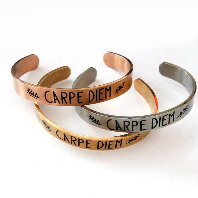 Inspirational Jewelry  -Gold & Stainless Steel Personalized Custom Cuff Bracelet