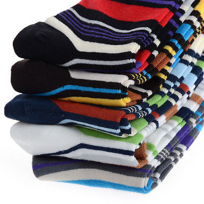 Image of 5 Pairs Men's Designer Fashion Dress Socks - Multi Color