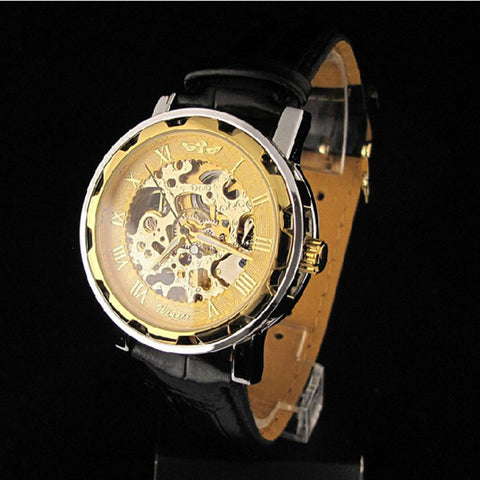 Classic Men's Gold Dial Skeleton Leather Mechanical Sport Army Wrist Watch