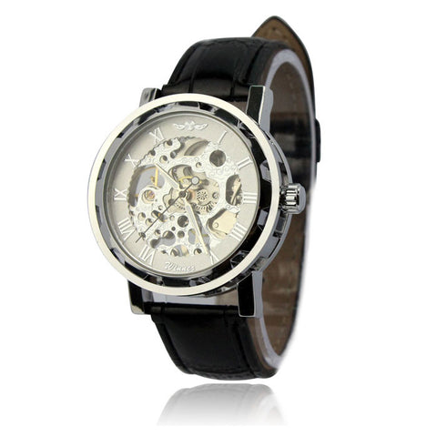 Image of Classic Men's Gold Dial Skeleton Leather Mechanical Sport Army Wrist Watch