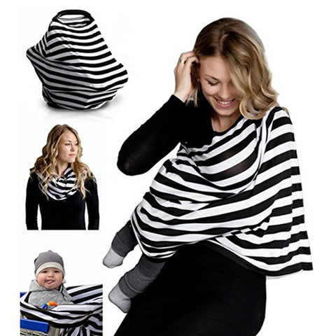 Nursing Breastfeeding Cover Scarf - Best Multi-Use Infinity Stretchy Shawl