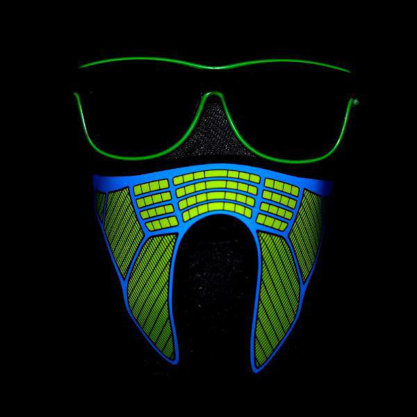 Non-medical Light Up Sound Activated Green Mask #1