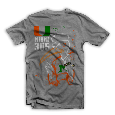 """Three O 5 RINGS"" UNIVERSITY OF MIAMI TEE SHIRT GREY"