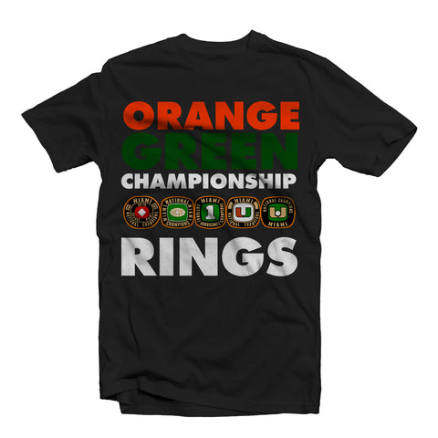"""CHAMPIONSHIP RINGS"" UNIVERSITY OF MIAMI TEE SHIRT BLACK"