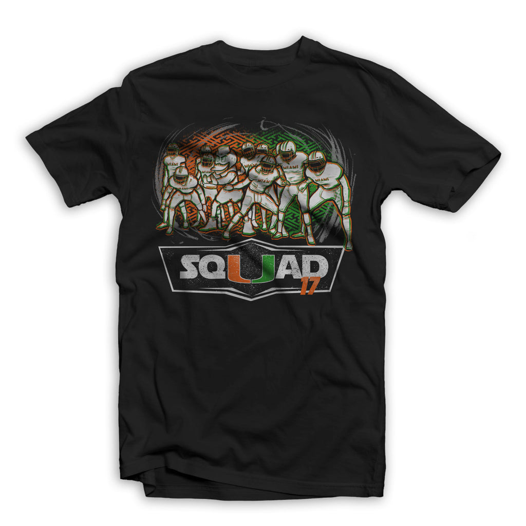 """SQUAD17"" UNIVERSITY OF MIAMI TEE SHIRT BLACK"
