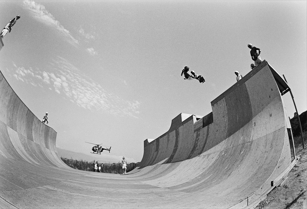 Steve Caballero Lien Air over the Channel at Chin Ramp 11x14